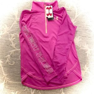 NWT! Girls Under Amour Pink 1/4 zip Fleece